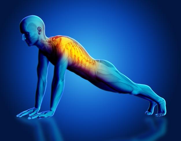 Render 3d de una figura médica masculina con columna resaltada en pose de yoga