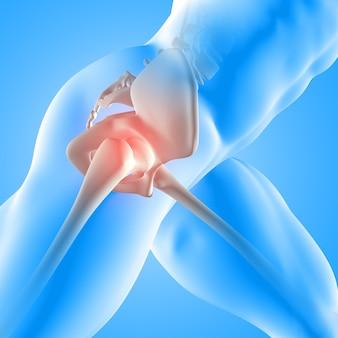 Render 3d de una figura médica masculina con hueso de la cadera resaltado