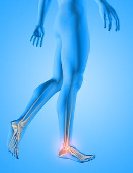 Render 3d de una figura médica masculina con huesos de pies resaltados