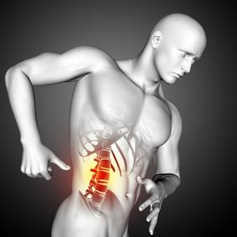 Render 3d de una figura médica masculina con vista lateral de cerca de la columna vertebral