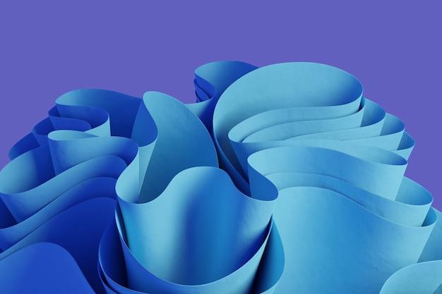 Render 3d de una figura ondulada abstracta azul claro sobre un fondo violeta papel tapiz con objetos 3d