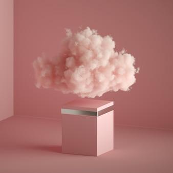 Render 3d, fondo abstracto de fantasía rosa. nube flotando sobre el pedestal vacío.