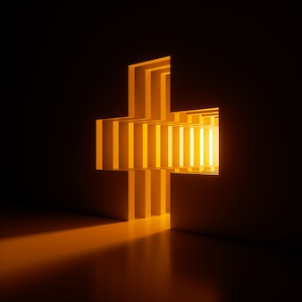 Render 3d, fondo abstracto, luz de neón de color amarillo brillante que brilla fuera del agujero en forma de cruz en la pared.