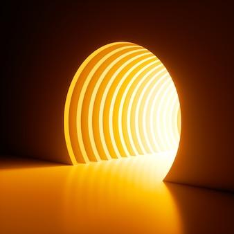 Render 3d, fondo abstracto, luz de neón de color amarillo brillante que brilla fuera del agujero en la pared.