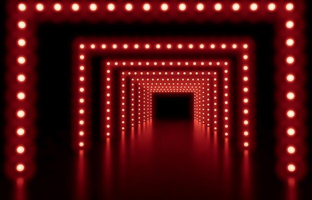 Render 3d fondo abstracto de moda con luces rojas de neón