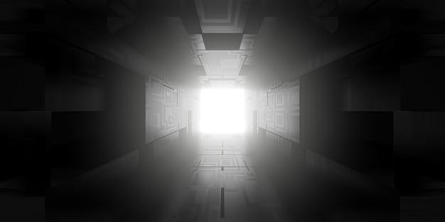 Render 3d de fondo abstracto de tecnología futurista con luces de túnel