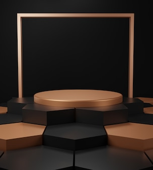 Render 3d de fondo abstracto triangular negro y dorado