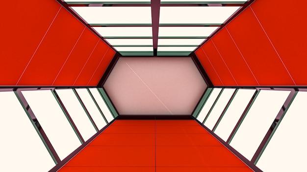 Render 3d de fondo abstracto, túnel hexagonal y puerta