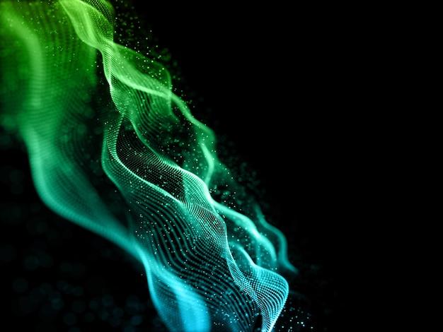 Render 3d de un fondo de ciencia de partículas que fluyen con poca profundidad de campo