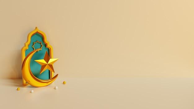 Render 3d del fondo de eid o ramadán mubarak con luna y estrella doradas del islam