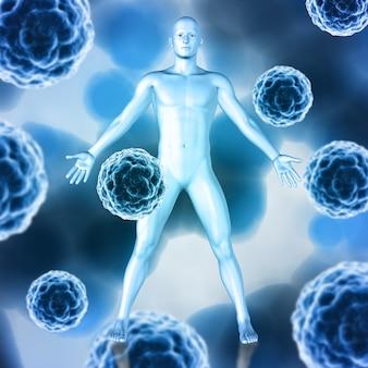 Render 3d de un fondo médico con células de virus abstractas y figura masculina