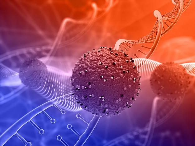 Render 3d de un fondo médico con células de virus abstractas y hebras de adn