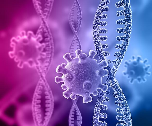 Render 3d de un fondo médico con hebras de adn y células de virus