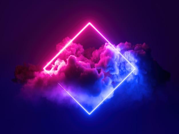 Render 3d, fondo mínimo abstracto, marco cuadrado de luz de neón azul rosa
