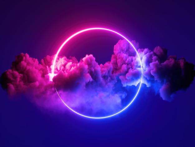 Render 3d, fondo mínimo abstracto, marco redondo de luz de neón azul rosa
