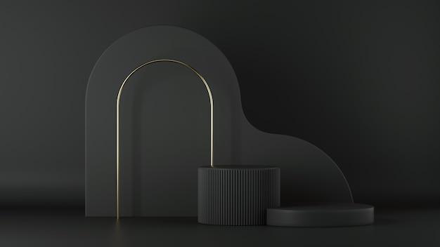 Render 3d de fondo negro minimalista abstracto con podio de cilindro vacío y arco dorado.