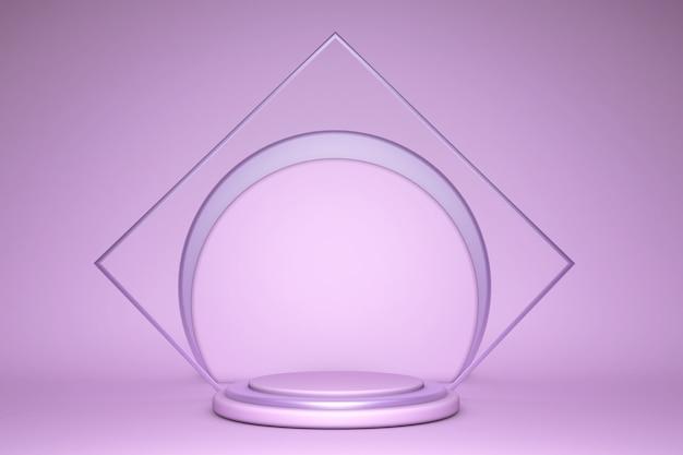 Render 3d, fondo pastel violeta abstracto. maqueta de cartel en blanco.