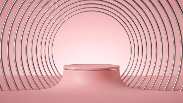 Render 3d, fondo rosa mínimo abstracto, pedestal de cilindro vacío con marco art deco plateado.