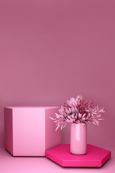 Render 3d, fondo rosa con ramo de flores de primavera. pedestal mínimo natural para belleza, presentación de productos cosméticos.
