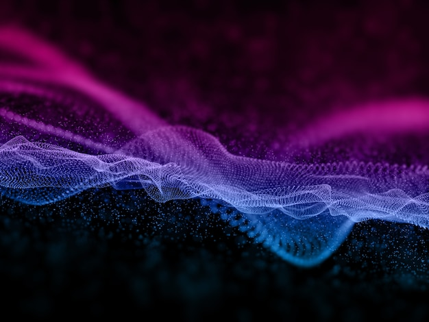 Render 3d de un fondo de tecnología abstracta con partículas fluidas