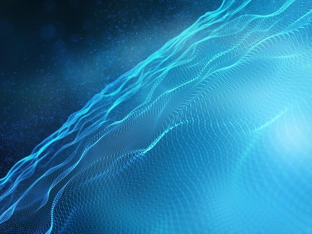 Render 3d de un fondo de tecnología moderna con partículas fluidas