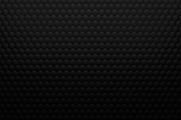 Render 3d de fondo volumétrico de hexágonos negros. fondo negro abstracto.