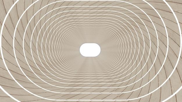 Render 3d de forma abstracta elipse en el fondo del túnel