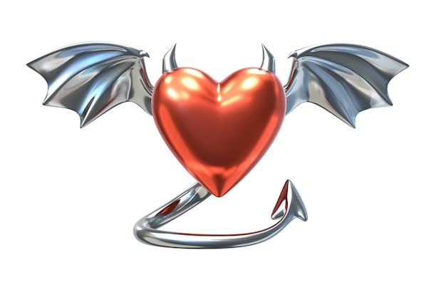 Render 3d de forma de corazón rojo metálico con cuernos de diablo y alas cromadas aisladas en blanco