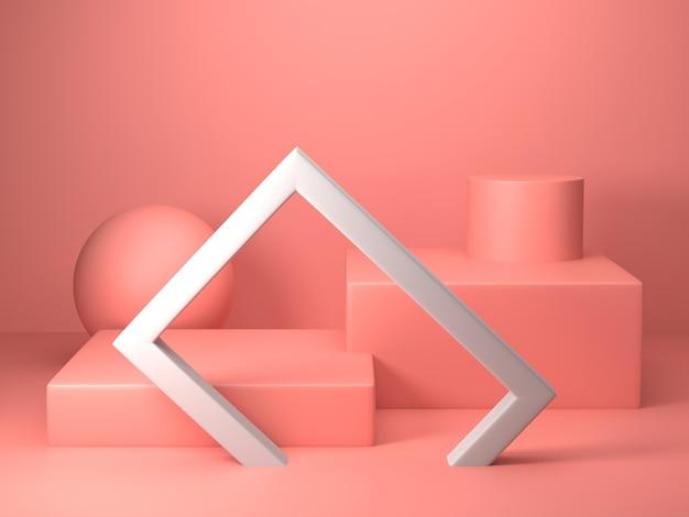 Render 3d de forma geométrica de color rosa abstracto, maqueta minimalista moderna para exhibición o exhibición de podio