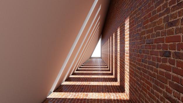 Render 3d de forma de triángulo abstracto en el fondo del túnel