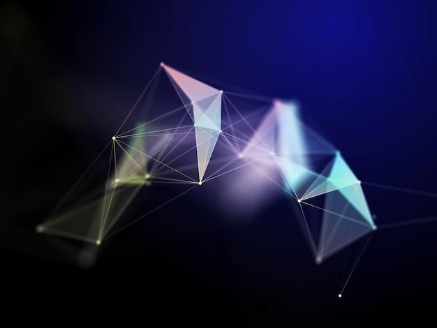 Render 3d de una formación científica en comunicaciones en red con diseño de plexo de baja poli
