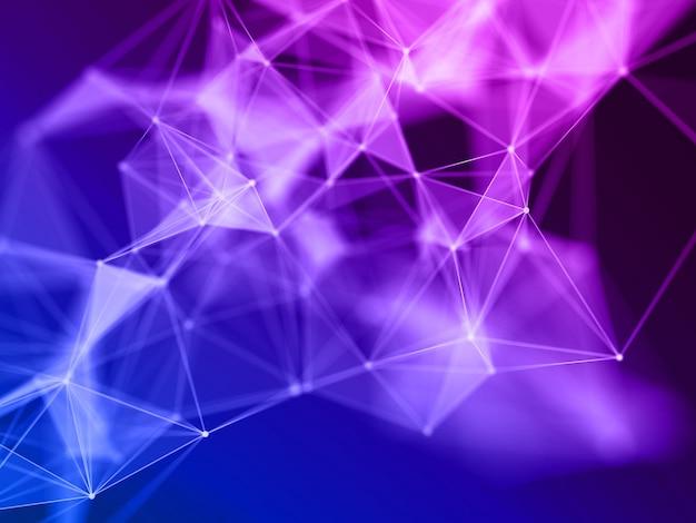 Render 3d de una formación científica con líneas y puntos de conexión