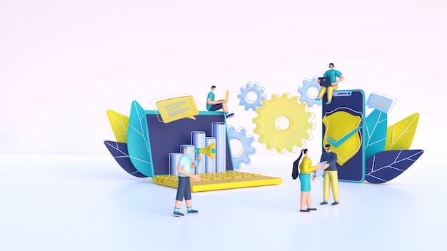 Render 3d de gente de negocios trabajando junto con computadora portátil, teléfono inteligente y elementos de infografía.