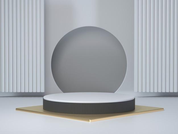 Render 3d, geométrico abstracto, podio cilíndrico, formas primitivas minimalistas, maqueta moderna, plantilla en blanco, rejilla metálica dorada, malla, escaparate vacío, exhibición de la tienda