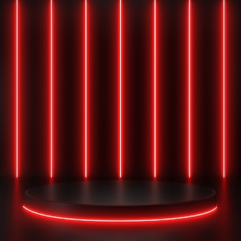 Render 3d geométrico, líneas brillantes, túnel, luces de neón rojas, fondo abstracto, con podio negro.
