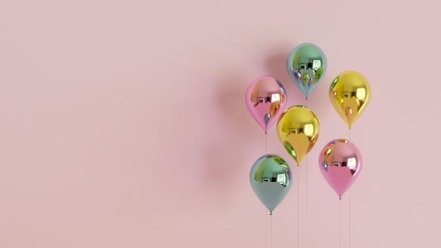 Render 3d de globos metálicos realistas sobre fondo rosa pastel. celebración y concepto de fiesta. diseño de fondo de cumpleaños.