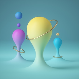 Render 3d de gotas de pintura abstracta en colores pastel