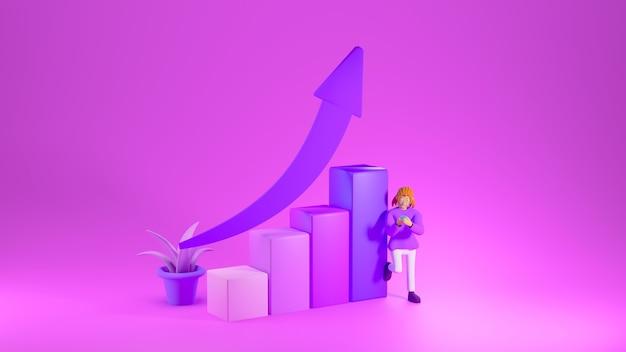 Render 3d de gráfico de barras ascendente con flecha morada en la parte superior y una niña junto a él sobre fondo rosa