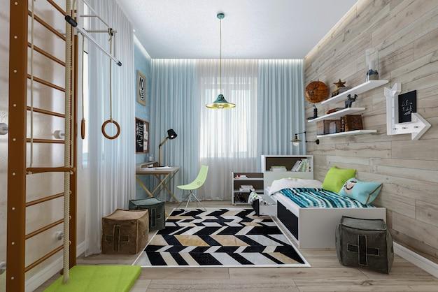 Render 3d habitación interior para niños.