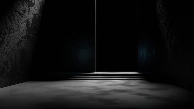Render 3d habitación vacía oscura con un fondo negro y luz tenue en el piso de concreto