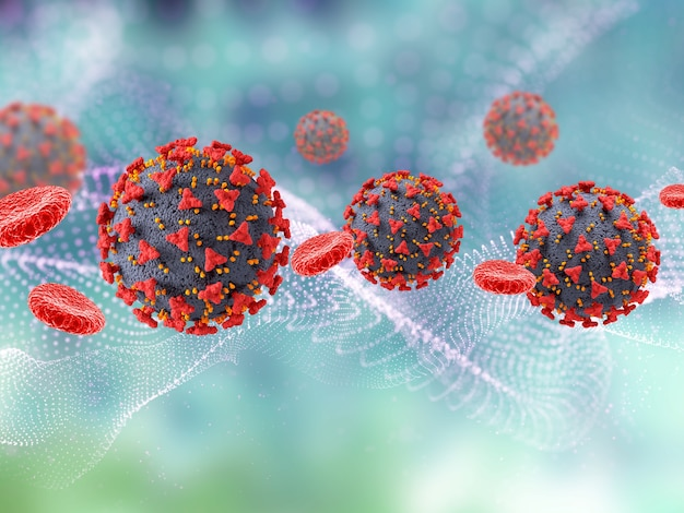 Render 3d de un historial médico con células del virus covid 19 y células sanguíneas