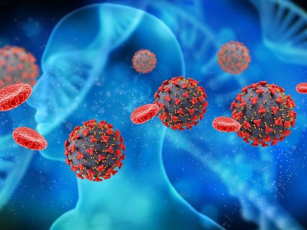 Render 3d de un historial médico con células del virus covid 19 y glóbulos con figura masculina en segundo plano.