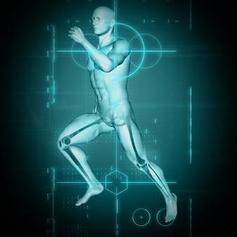 Render 3d de un historial médico con figura masculina en pose de ejecución
