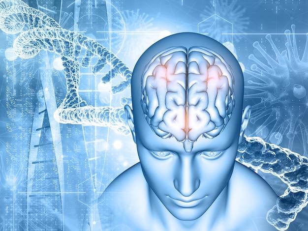 Render 3d de un historial médico con hombres y cerebro, hebras de adn y células de virus
