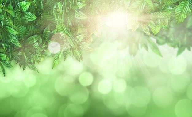 Render 3d de hojas sobre un fondo desenfocado