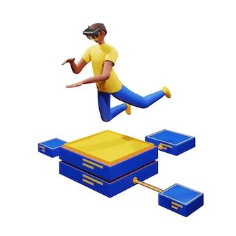 Render 3d de hombre joven imagina sostener algo a través de gafas ar en pose de salto en la ilustración del servidor conectado.