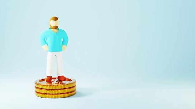 Render 3d de un hombre y monedas de oro. compras en línea y comercio electrónico en concepto de negocio web. transacción segura de pago en línea con teléfono inteligente.