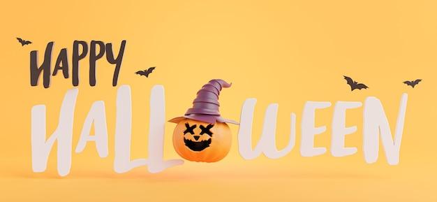 Render 3d del icono de feliz halloween con concepto de halloween.