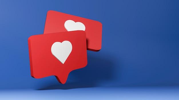Render 3d del icono de redes sociales, como símbolo sobre fondo azul.