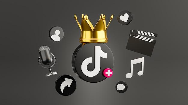 Render 3d del icono de tiktok con multimedia social